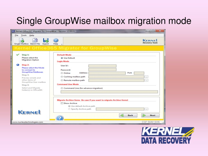 Single GroupWise mailbox migration mo