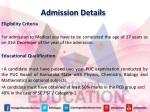 admission details