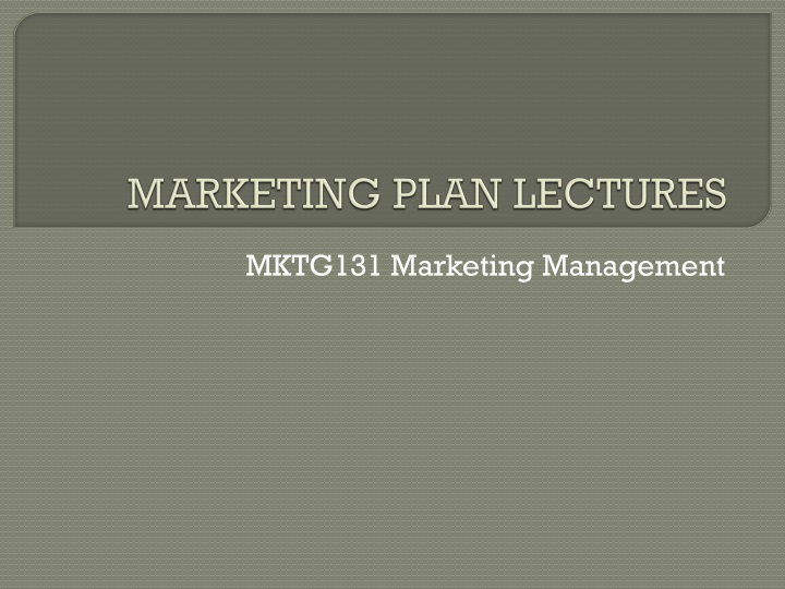Marketing plan lectures