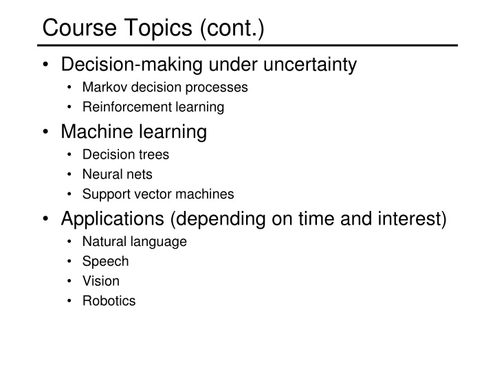 Course Topics (cont.)