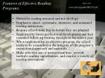 features of effective reading programs