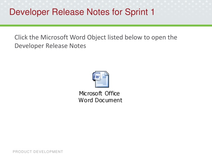 Developer Release Notes for Sprint 1