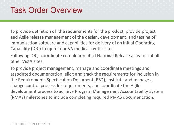 Task Order Overview