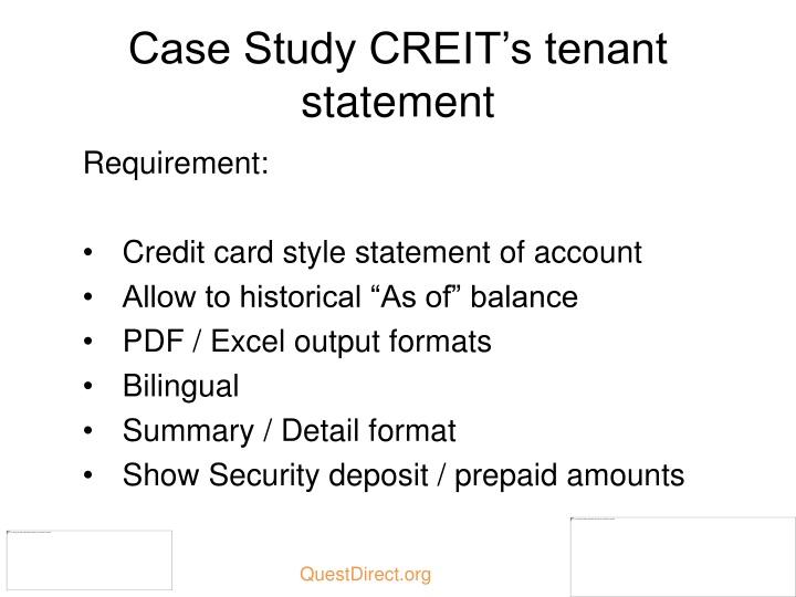 Case Study CREIT's tenant statement