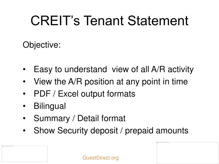 CREIT's Tenant Statement