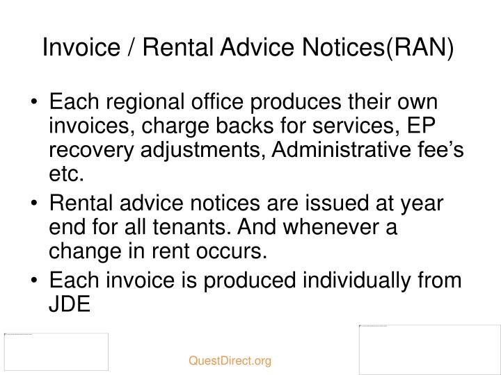 Invoice / Rental Advice