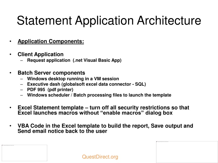 Statement Application Architecture