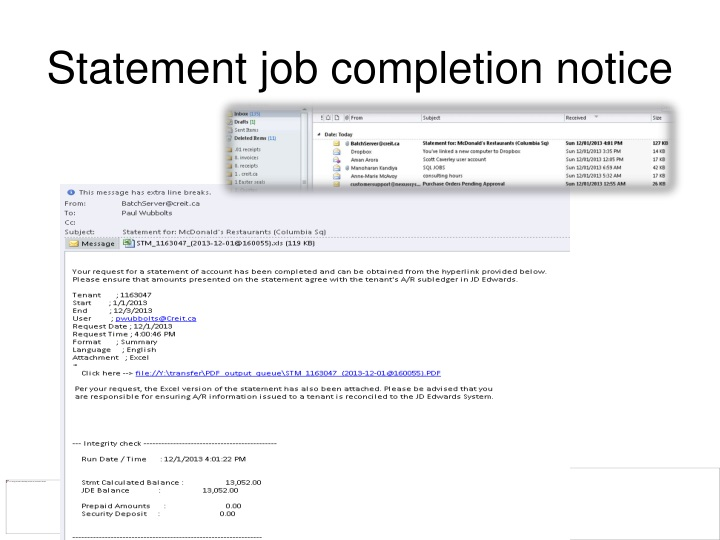 Statement job completion notice