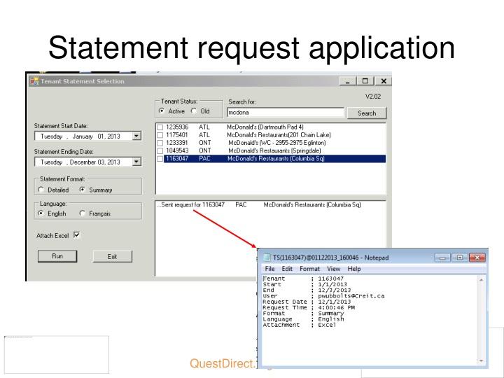 Statement request
