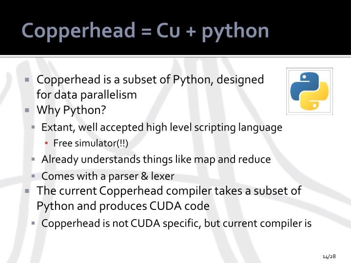 Copperhead = Cu + python