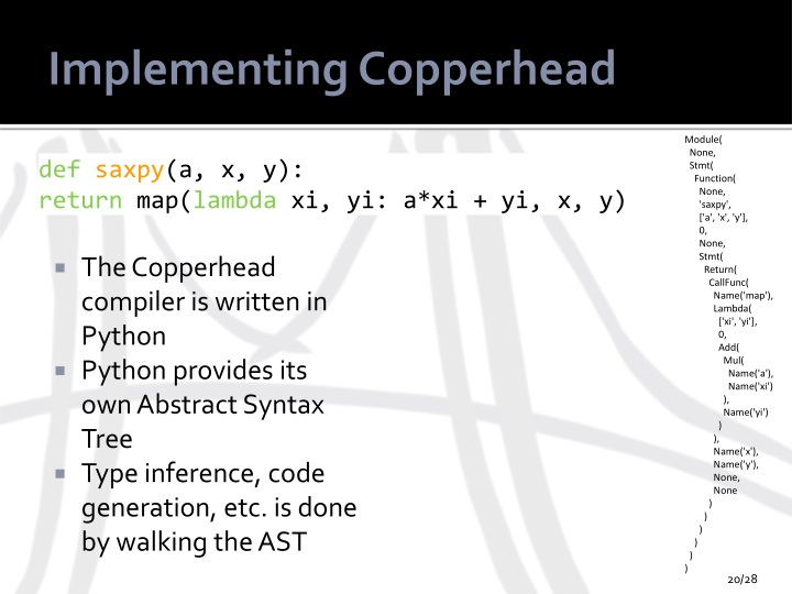 Implementing Copperhead