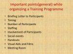 important points general while organizing a training programme