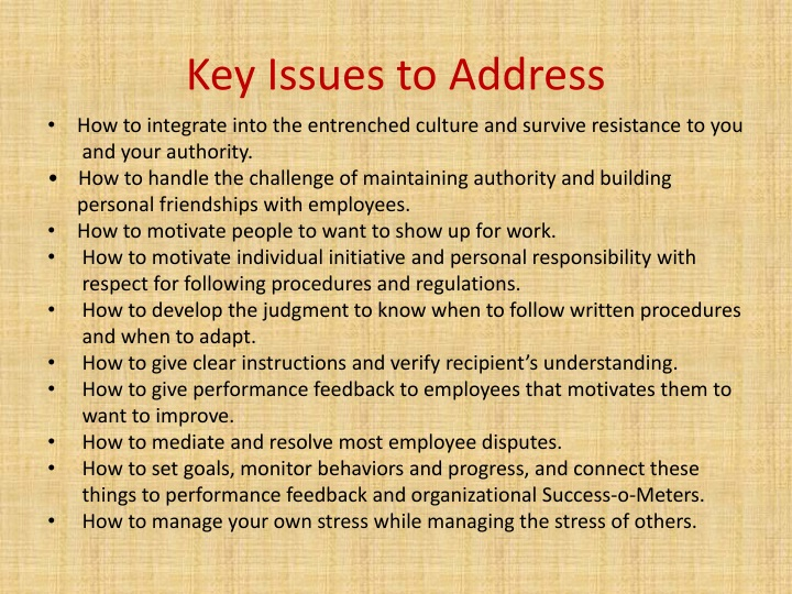 Key Issues to Address