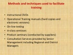 m ethods and techniques used to facilitate training