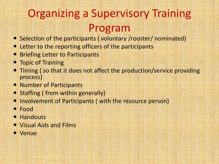 Organizing a Supervisory Training Program