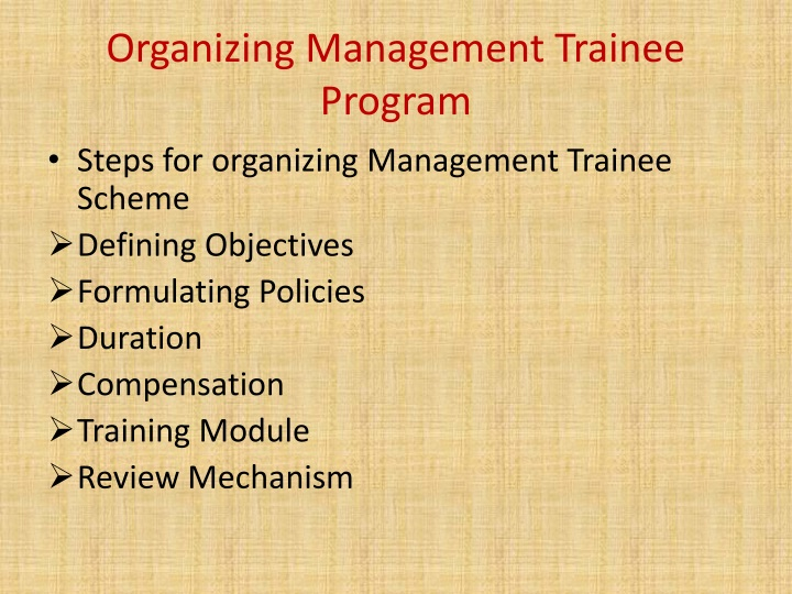 Organizing Management Trainee Program