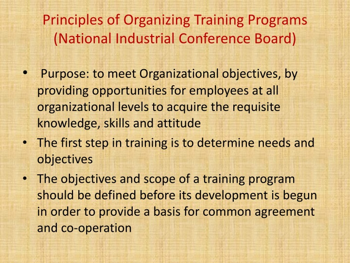 Principles of organizing training programs national industrial conference board