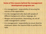 some of the reasons behind the management development programs are