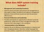 what does mdp system training include