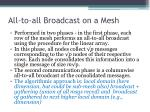 all to all broadcast on a mesh