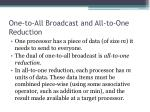 one to all broadcast and all to one reduction