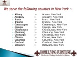 we serve the following counties in new york