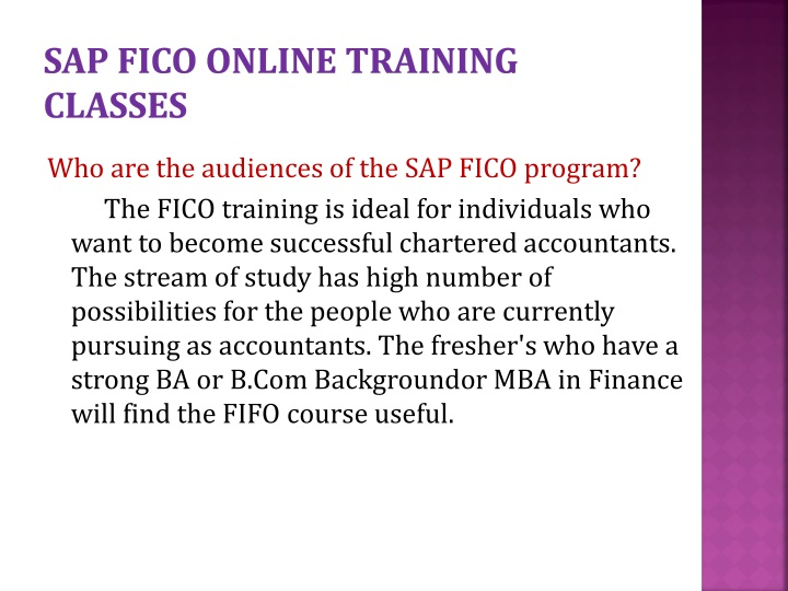 SAP FICO ONLINE TRAINING CLASSES