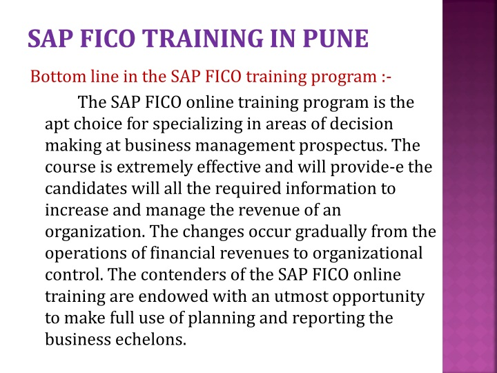 SAP FICO TRAINING IN PUNE