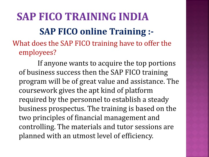 Sap fico training India