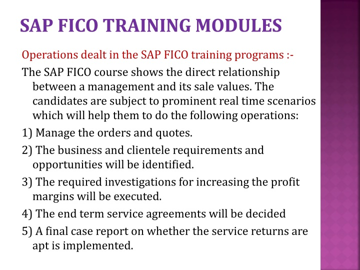 SAP FICO TRAINING MODULES