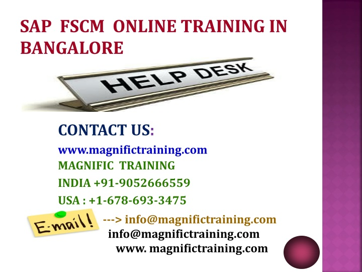 SAP  FSCM  ONLINE TRAINING IN  BANGALORE