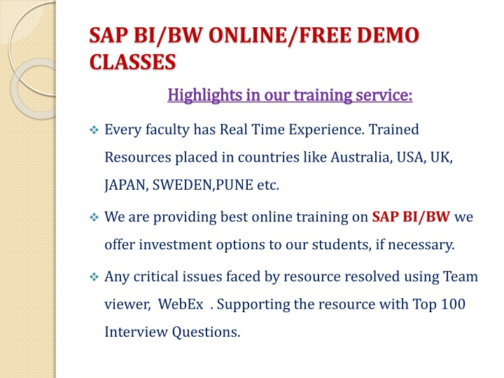 SAP BI/BW ONLINE/FREE DEMO CLASSES