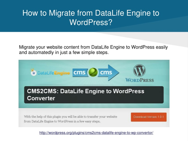 How to migrate from datalife engine to wordpress
