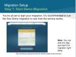 migration setup step 7 start demo migration