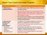 define your coach the coach program