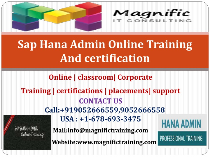 S ap hana admin online training and certification