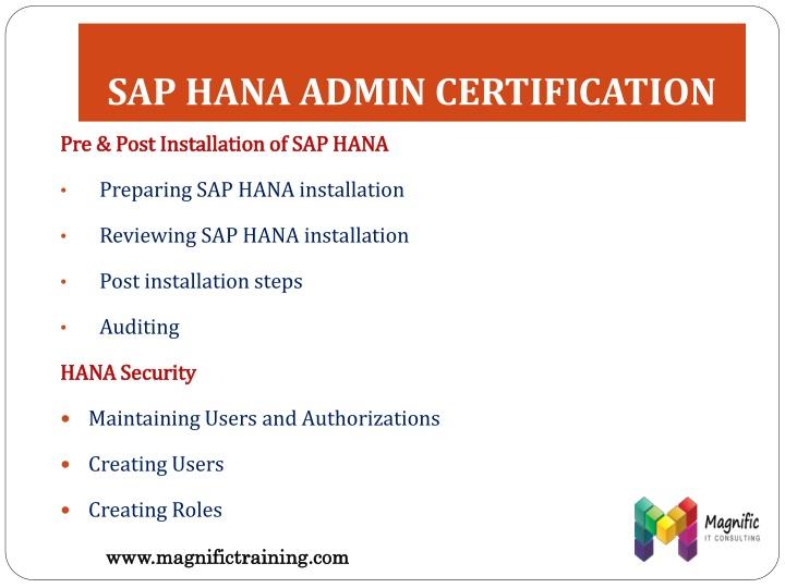 SAP HANA ADMIN CERTIFICATION