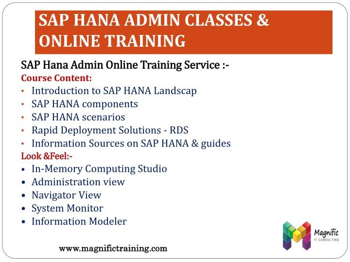 SAP HANA ADMIN CLASSES & ONLINE TRAINING