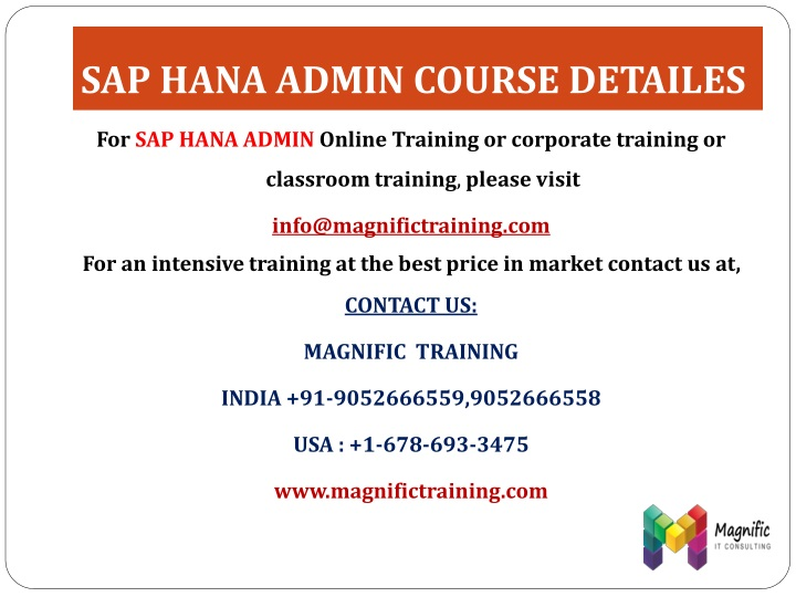 SAP HANA ADMIN COURSE DETAILES
