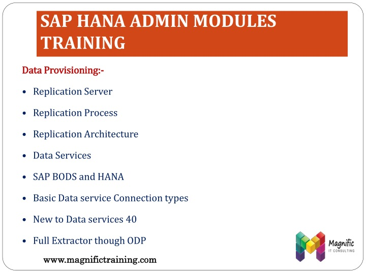 SAP HANA ADMIN MODULES TRAINING