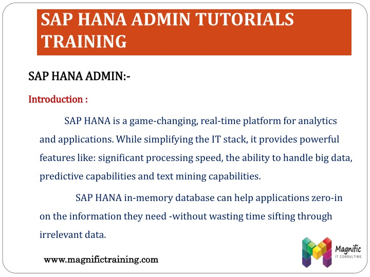 SAP HANA ADMIN TUTORIALS TRAINING