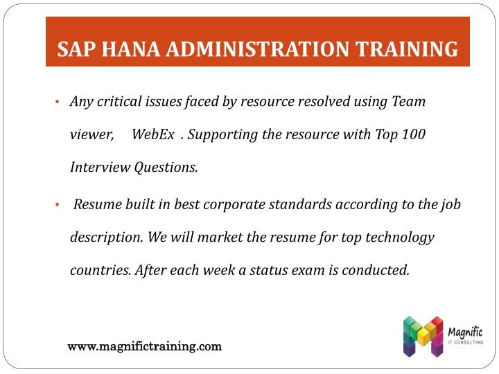 SAP HANA ADMINISTRATION TRAINING