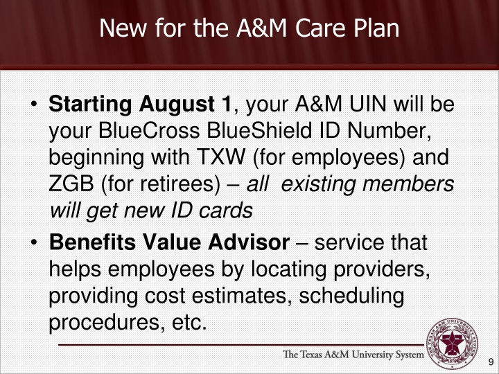 New for the A&M Care Plan