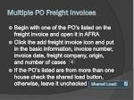 multiple po freight invoices