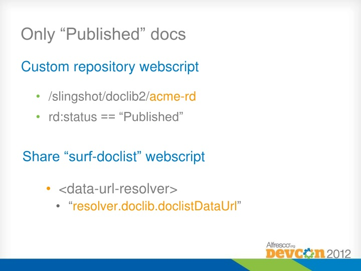 "Only ""Published"" docs"