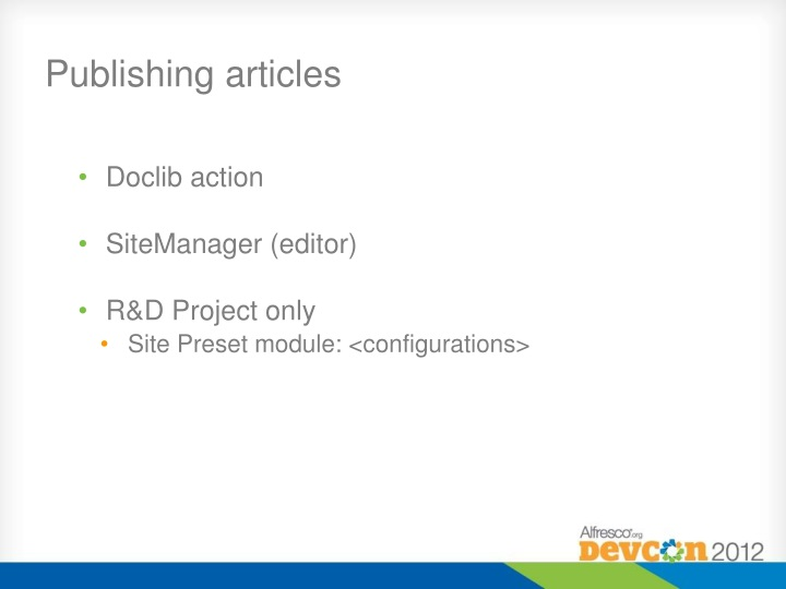 Publishing articles