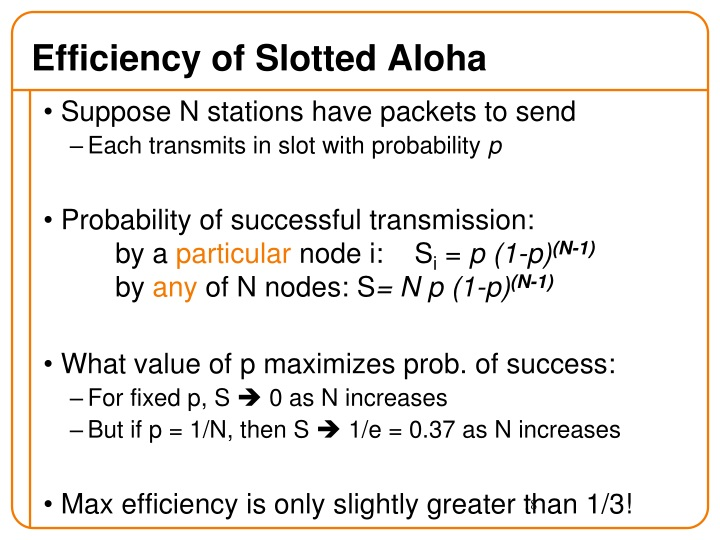 Efficiency of Slotted Aloha