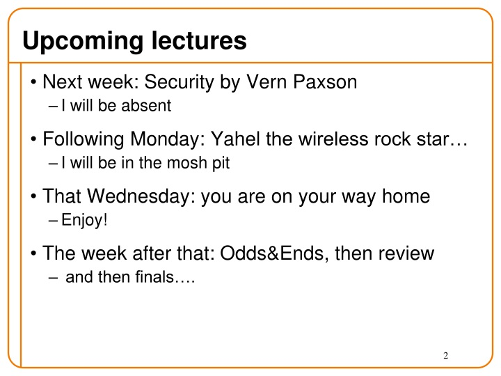 Upcoming lectures