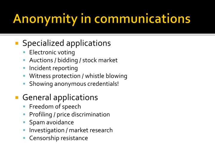 Anonymity in communications