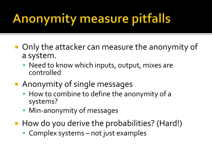 Anonymity measure pitfalls